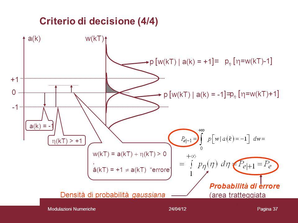 37 p [ w(kT) | a(k) = -1 ]= +1 0 w(kT) p [ w(kT) | a(k) = +1 ]= w(k) > 0 a(k) = -1 (kT) > +1 w(kT) = a(kT) (kT) > 0, â(kT) = +1 a(kT) errore a(k) Prob