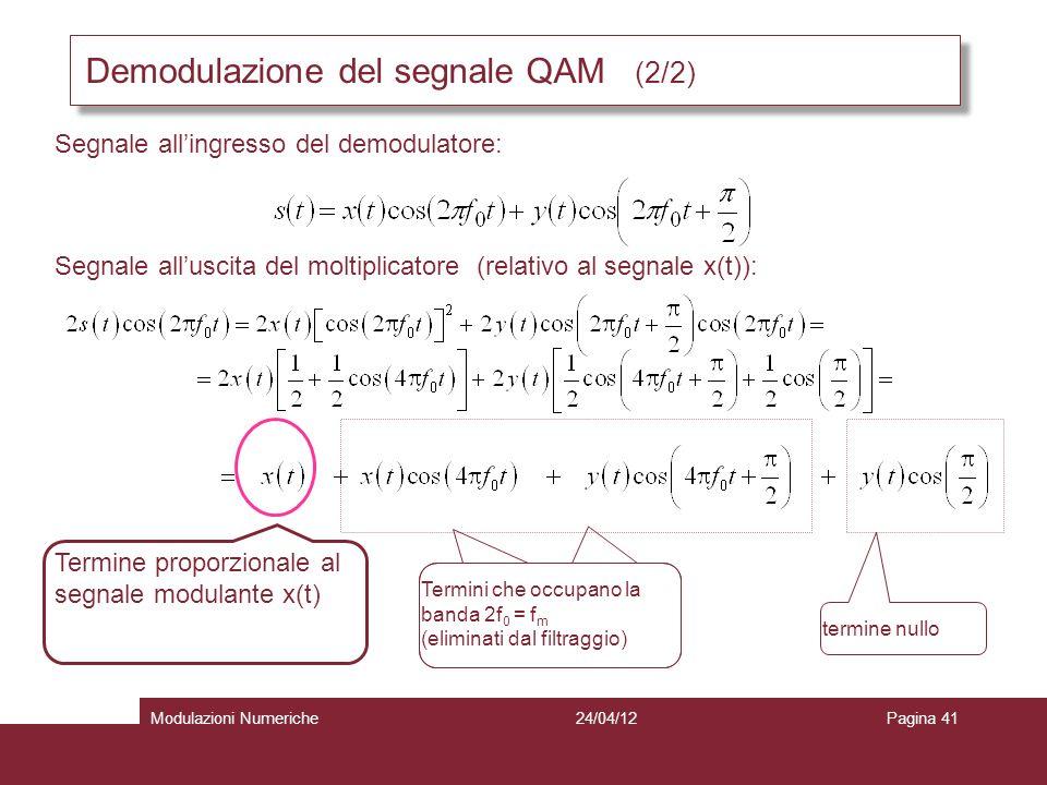 Demodulazione del segnale QAM (2/2) Segnale allingresso del demodulatore: Segnale alluscita del moltiplicatore (relativo al segnale x(t)): Termine pro