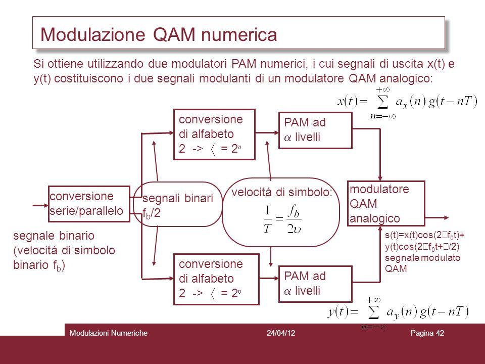 42 Modulazione QAM numerica Si ottiene utilizzando due modulatori PAM numerici, i cui segnali di uscita x(t) e y(t) costituiscono i due segnali modula