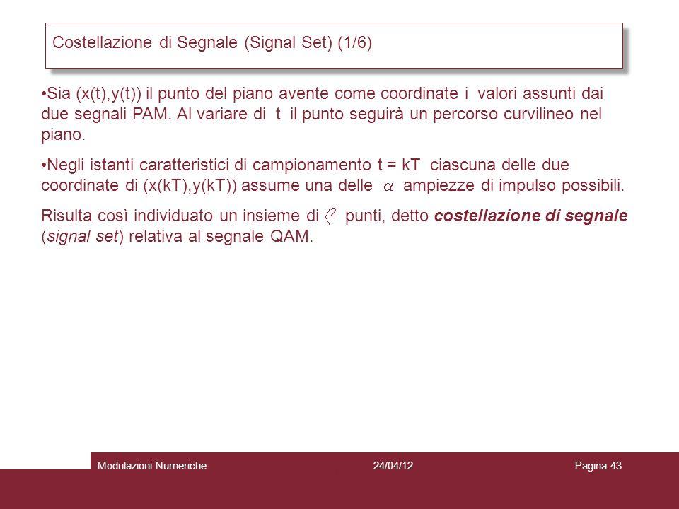 43 Costellazione di Segnale (Signal Set) (1/6) Sia (x(t),y(t)) il punto del piano avente come coordinate i valori assunti dai due segnali PAM. Al vari