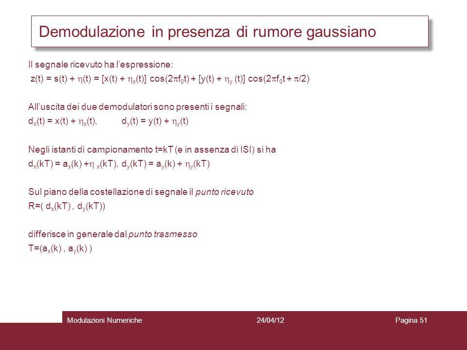 Demodulazione in presenza di rumore gaussiano Il segnale ricevuto ha lespressione: z(t) = s(t) + (t) = [x(t) + x (t)] cos(2 f 0 t) + [y(t) + y (t)] co