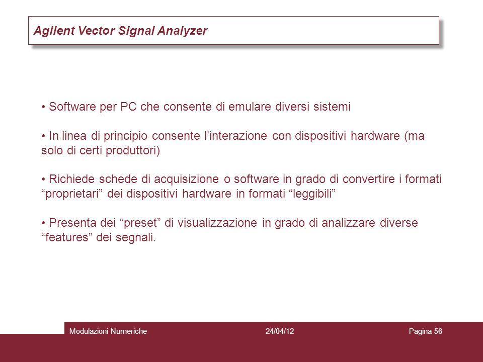 Agilent Vector Signal Analyzer Software per PC che consente di emulare diversi sistemi In linea di principio consente linterazione con dispositivi har