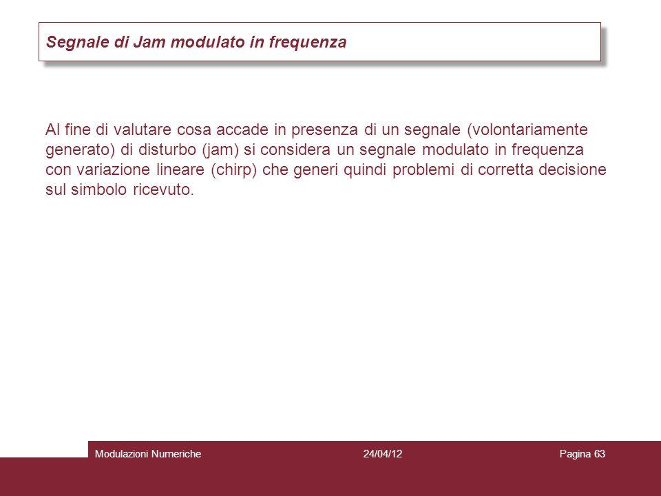 Segnale di Jam modulato in frequenza Al fine di valutare cosa accade in presenza di un segnale (volontariamente generato) di disturbo (jam) si conside