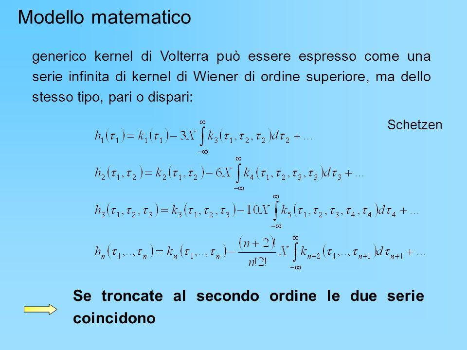 generico kernel di Volterra può essere espresso come una serie infinita di kernel di Wiener di ordine superiore, ma dello stesso tipo, pari o dispari: