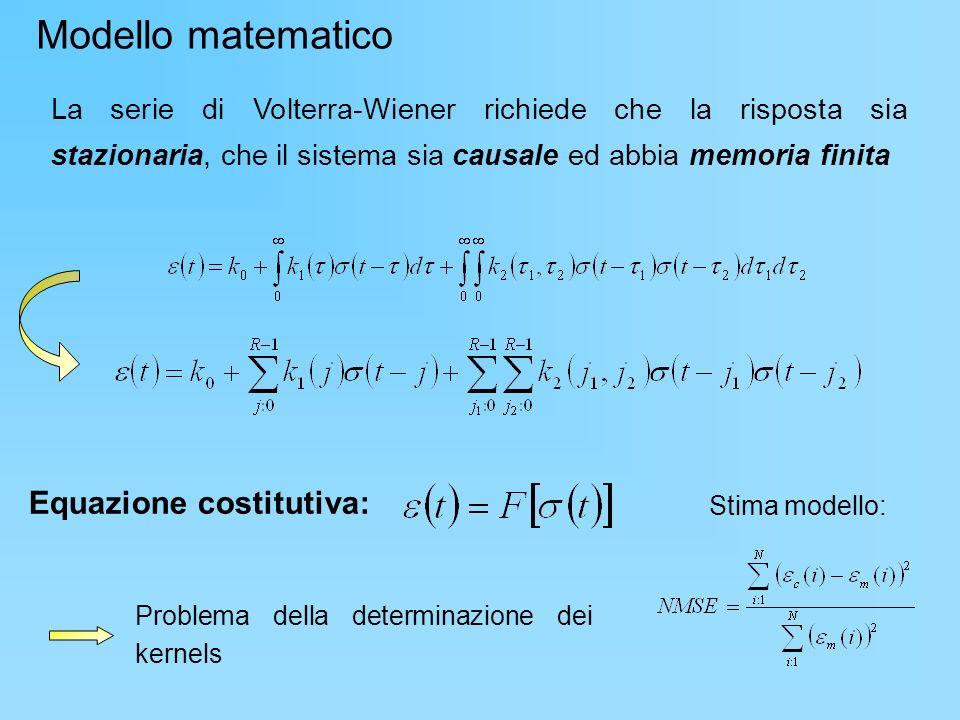 Problema della determinazione dei kernels Stima modello: La serie di Volterra-Wiener richiede che la risposta sia stazionaria, che il sistema sia caus