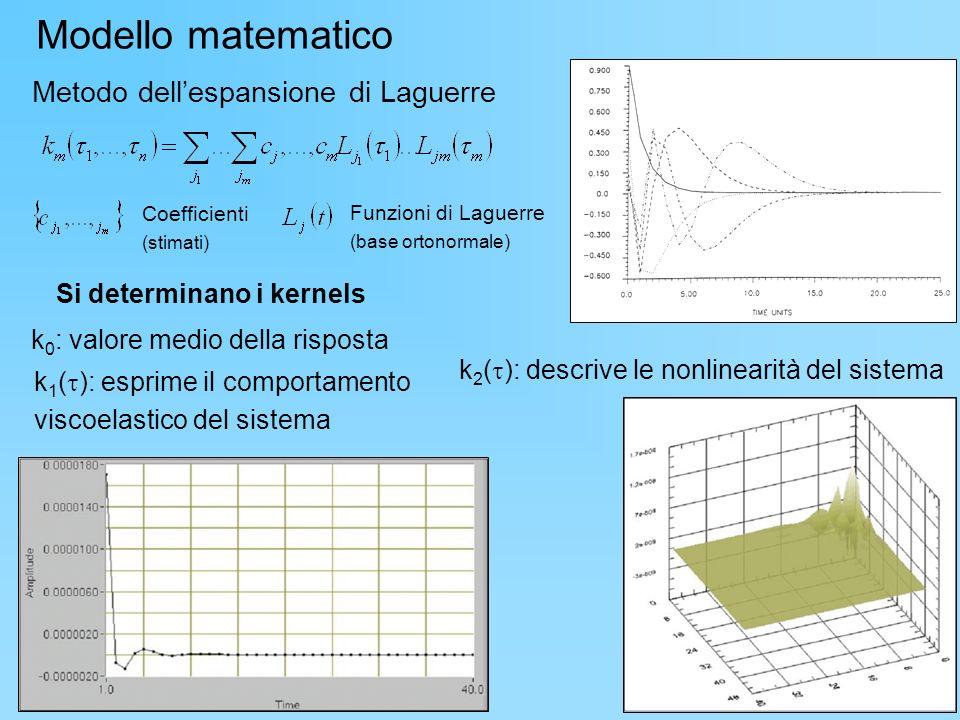 Metodo dellespansione di Laguerre Coefficienti (stimati) Funzioni di Laguerre (base ortonormale) k 0 : valore medio della risposta Si determinano i ke