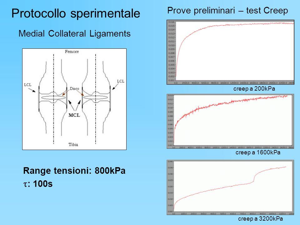 Protocollo sperimentale Medial Collateral Ligaments Range tensioni: 800kPa : 100s Prove preliminari – test Creep creep a 200kPa creep a 1600kPa creep