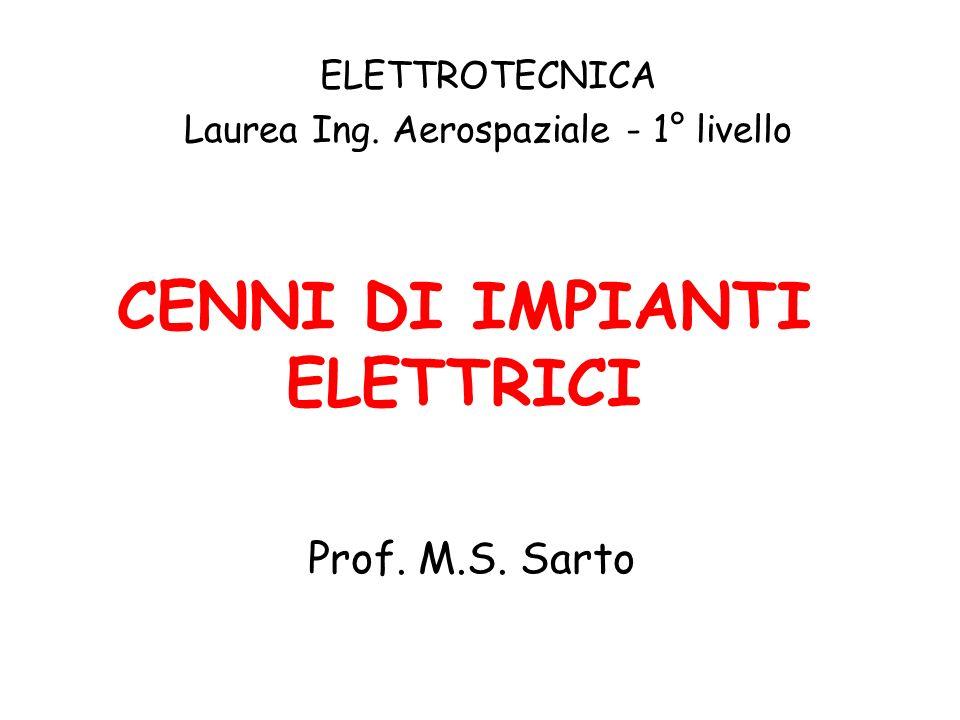 CENNI DI IMPIANTI ELETTRICI Prof. M.S. Sarto ELETTROTECNICA Laurea Ing. Aerospaziale - 1° livello