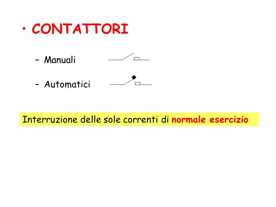 CONTATTORI –Manuali –Automatici Interruzione delle sole correnti di normale esercizio