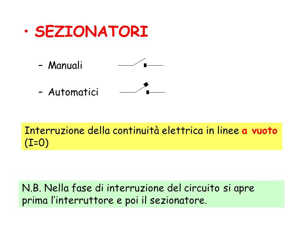 SEZIONATORI –Manuali –Automatici Interruzione della continuità elettrica in linee a vuoto (I=0) N.B.