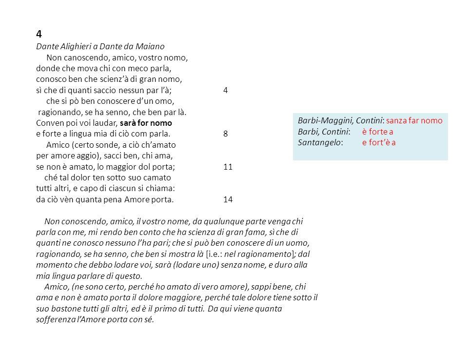 4 Dante Alighieri a Dante da Maiano Non canoscendo, amico, vostro nomo, donde che mova chi con meco parla, conosco ben che scienzà di gran nomo, sì ch