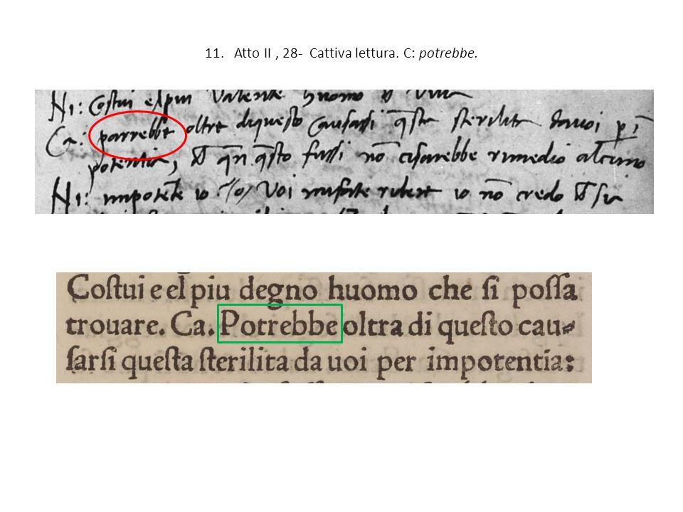 11. Atto II, 28- Cattiva lettura. C: potrebbe.