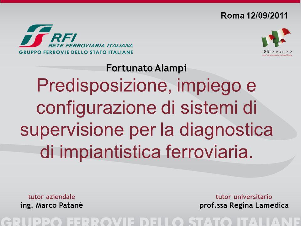 Fortunato Alampi Predisposizione, impiego e configurazione di sistemi di supervisione per la diagnostica di impiantistica ferroviaria. Roma 12/09/2011