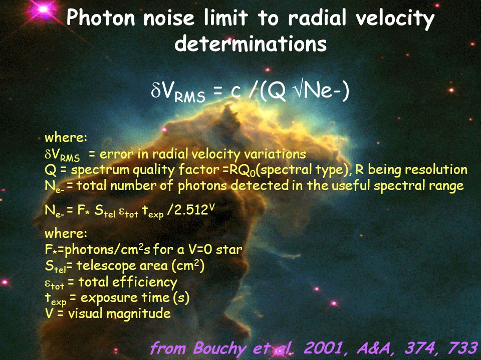 where: V RMS = error in radial velocity variations Q = spectrum quality factor =RQ 0 (spectral type), R being resolution N e- = total number of photon
