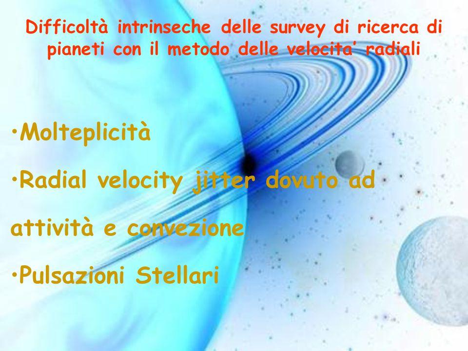 Difficoltà intrinseche delle survey di ricerca di pianeti con il metodo delle velocita radiali Molteplicità Radial velocity jitter dovuto ad attività