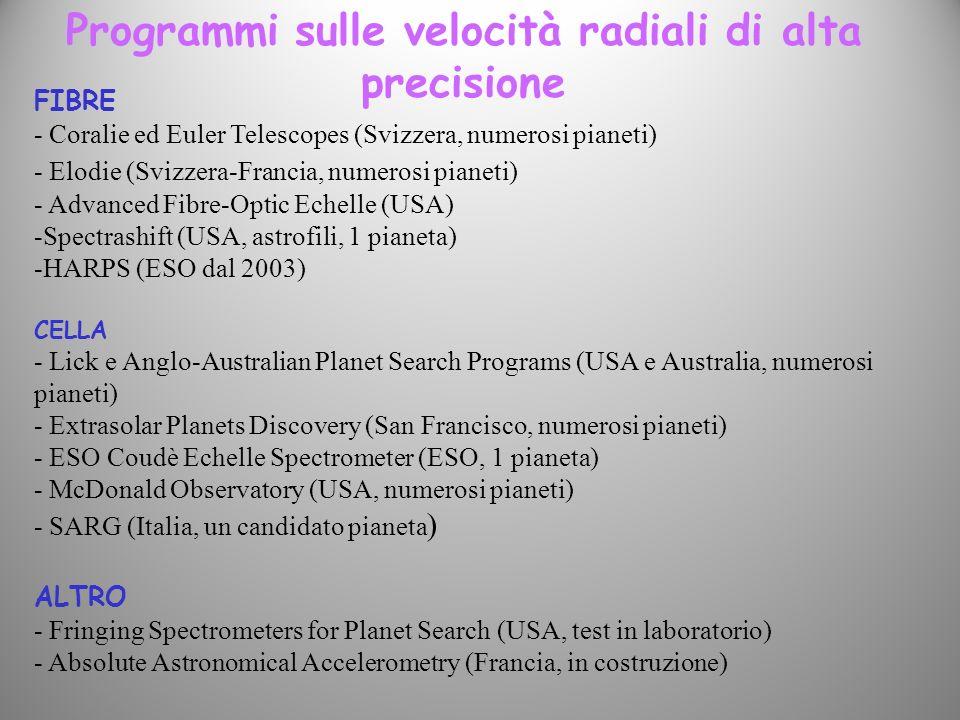 Programmi sulle velocità radiali di alta precisione FIBRE - Coralie ed Euler Telescopes (Svizzera, numerosi pianeti) - Elodie (Svizzera-Francia, numer