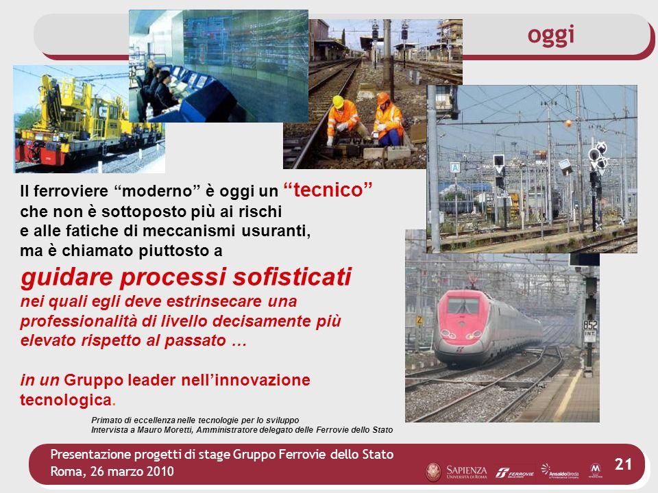 Presentazione progetti di stage Gruppo Ferrovie dello Stato Roma, 26 marzo 2010 21 Il ferroviere moderno è oggi un tecnico che non è sottoposto più ai