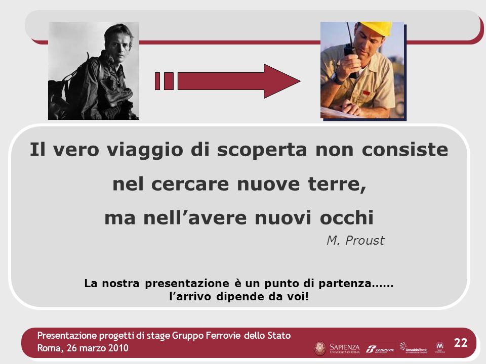 Presentazione progetti di stage Gruppo Ferrovie dello Stato Roma, 26 marzo 2010 22 Il vero viaggio di scoperta non consiste nel cercare nuove terre, m