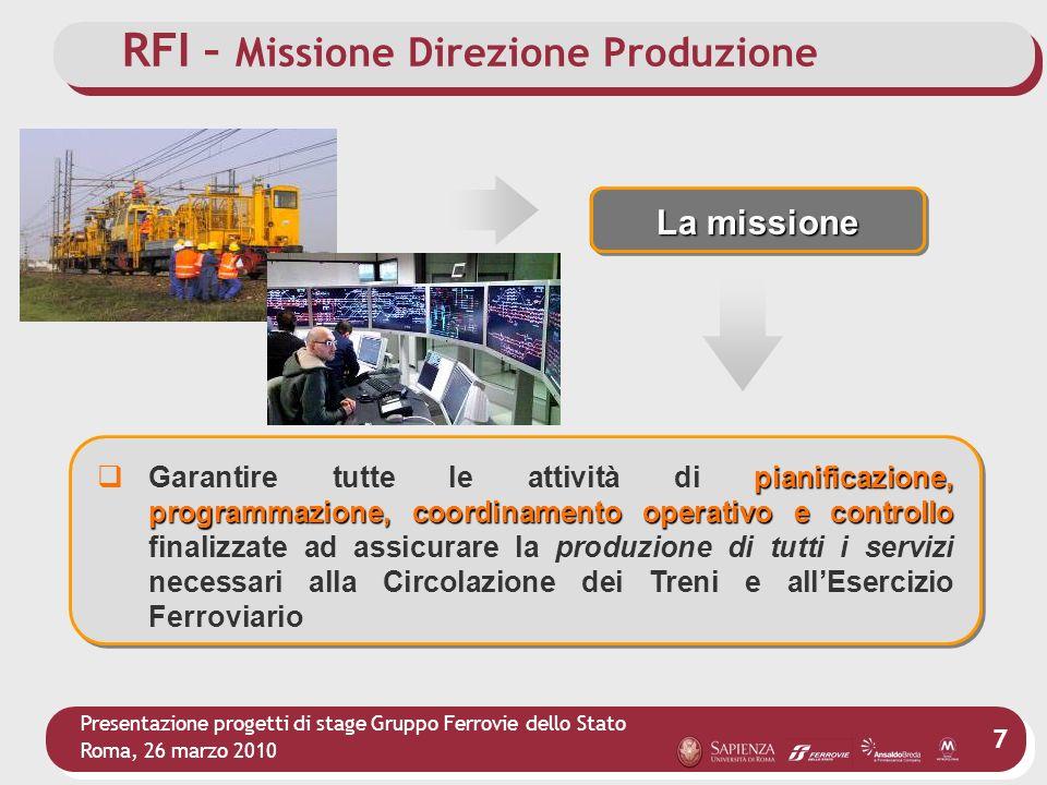 Presentazione progetti di stage Gruppo Ferrovie dello Stato Roma, 26 marzo 2010 7 La missione pianificazione, programmazione, coordinamento operativo