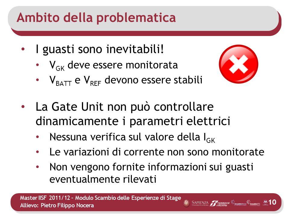 Master IISF 2011/12 – Modulo Scambio delle Esperienze di Stage Allievo: Pietro Filippo Nocera Ambito della problematica I guasti sono inevitabili! V G