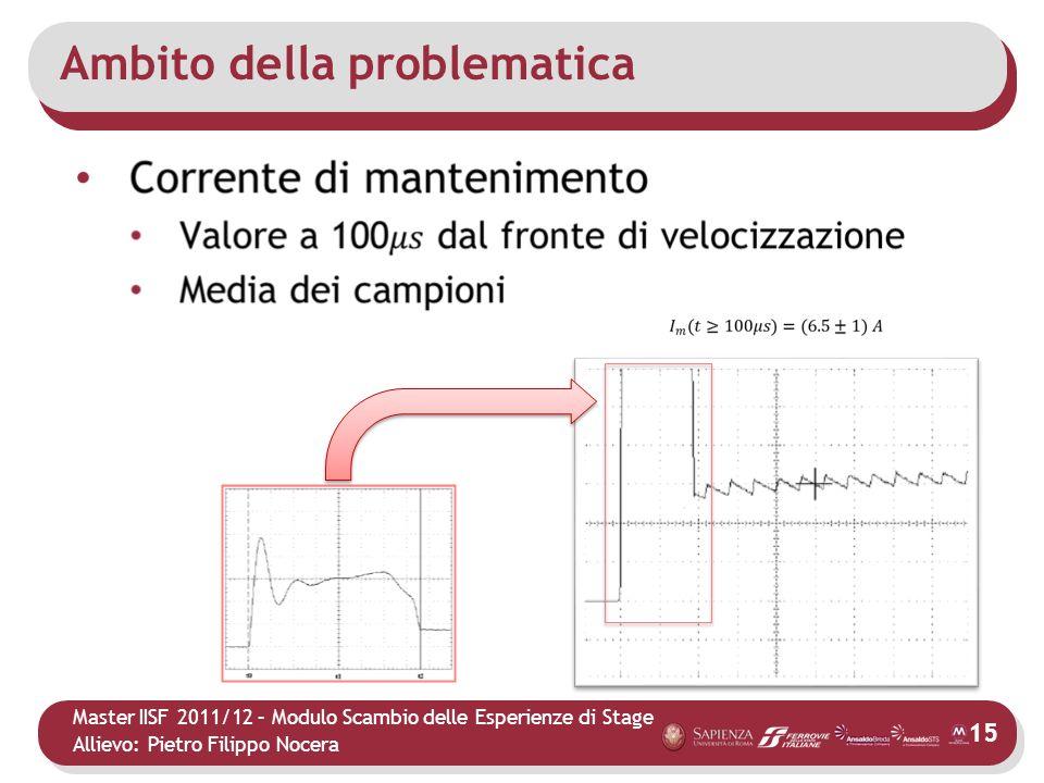Master IISF 2011/12 – Modulo Scambio delle Esperienze di Stage Allievo: Pietro Filippo Nocera Ambito della problematica 15