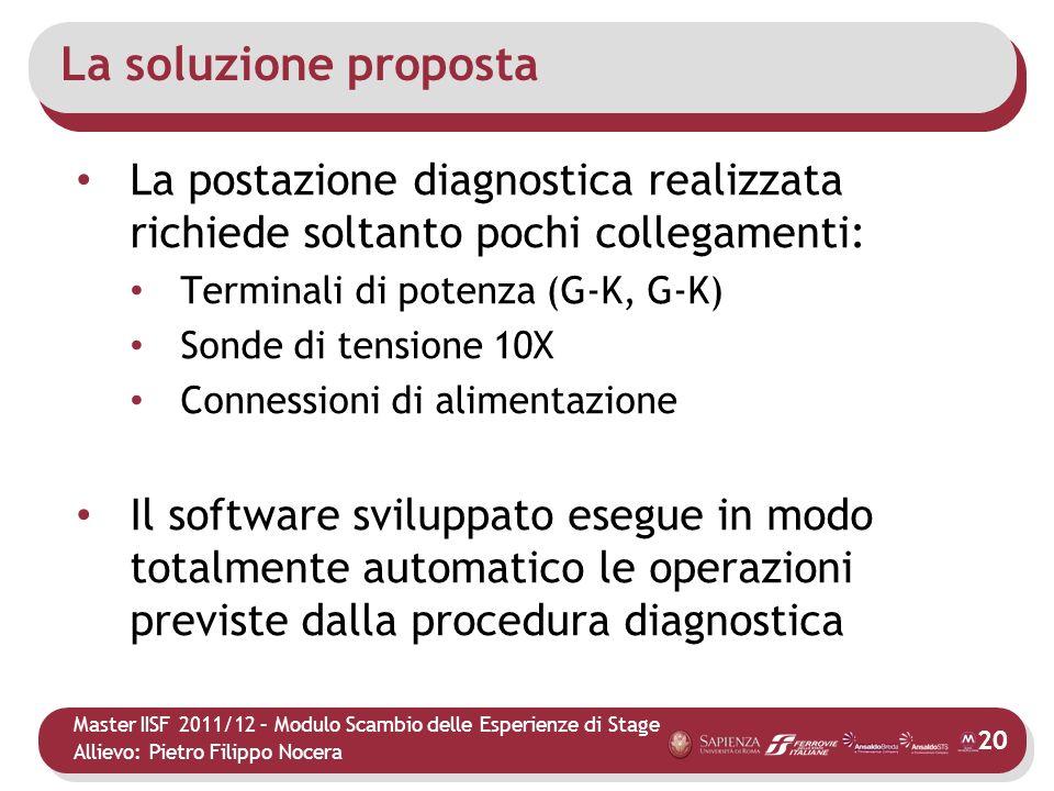 Master IISF 2011/12 – Modulo Scambio delle Esperienze di Stage Allievo: Pietro Filippo Nocera La soluzione proposta La postazione diagnostica realizza