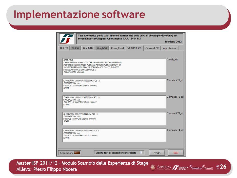Master IISF 2011/12 – Modulo Scambio delle Esperienze di Stage Allievo: Pietro Filippo Nocera Implementazione software 26