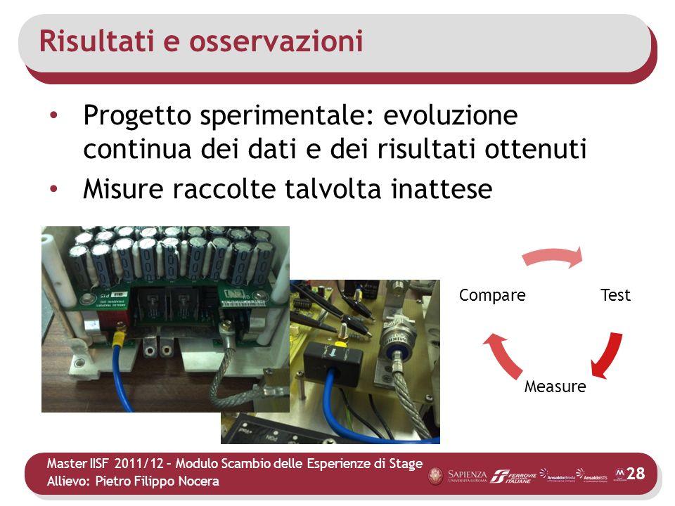Master IISF 2011/12 – Modulo Scambio delle Esperienze di Stage Allievo: Pietro Filippo Nocera Risultati e osservazioni Progetto sperimentale: evoluzio