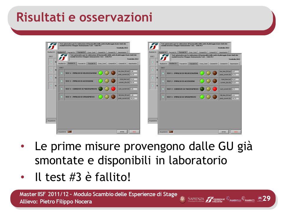 Master IISF 2011/12 – Modulo Scambio delle Esperienze di Stage Allievo: Pietro Filippo Nocera Risultati e osservazioni 29 Le prime misure provengono d