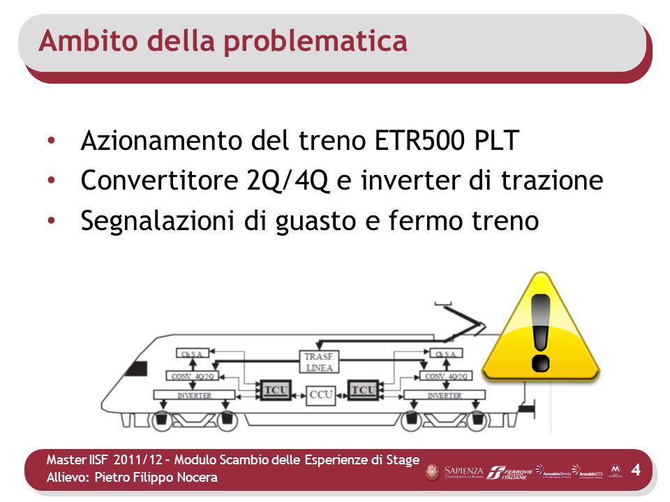 Master IISF 2011/12 – Modulo Scambio delle Esperienze di Stage Allievo: Pietro Filippo Nocera Ambito della problematica Azionamento del treno ETR500 P