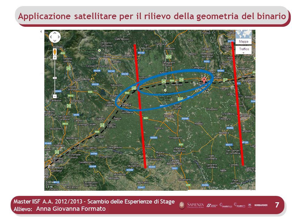 Master IISF A.A. 2012/2013 - Scambio delle Esperienze di Stage Allievo: Mario Agostino 7 Applicazione satellitare per il rilievo della geometria del b