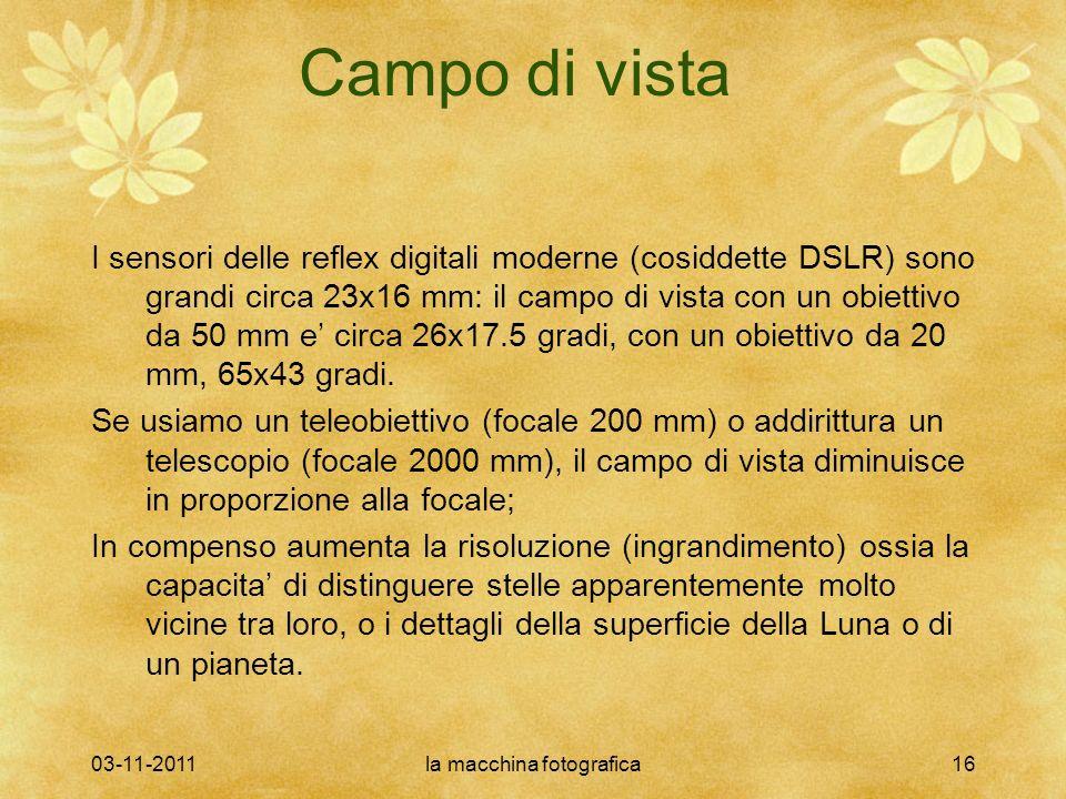 03-11-2011la macchina fotografica16 Campo di vista I sensori delle reflex digitali moderne (cosiddette DSLR) sono grandi circa 23x16 mm: il campo di vista con un obiettivo da 50 mm e circa 26x17.5 gradi, con un obiettivo da 20 mm, 65x43 gradi.