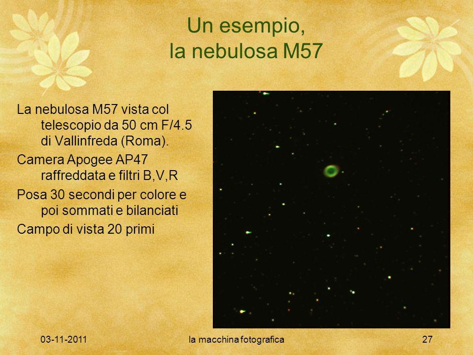 03-11-2011la macchina fotografica27 Un esempio, la nebulosa M57 La nebulosa M57 vista col telescopio da 50 cm F/4.5 di Vallinfreda (Roma). Camera Apog