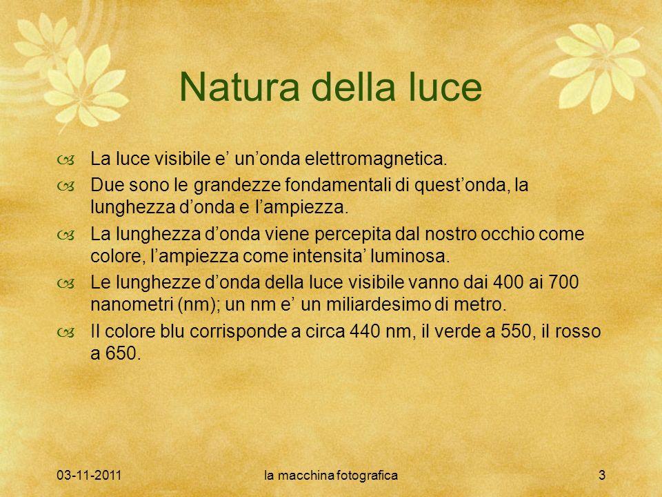 03-11-2011la macchina fotografica3 Natura della luce La luce visibile e unonda elettromagnetica. Due sono le grandezze fondamentali di questonda, la l