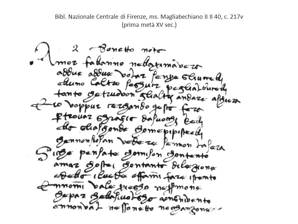 Bibl. Nazionale Centrale di Firenze, ms. Magliabechiano II II 40, c. 217v (prima metà XV sec.)