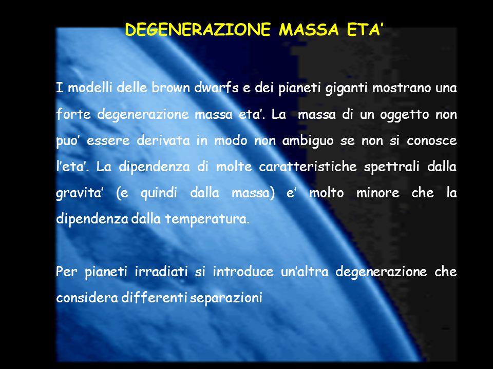 DEGENERAZIONE MASSA ETA I modelli delle brown dwarfs e dei pianeti giganti mostrano una forte degenerazione massa eta. La massa di un oggetto non puo