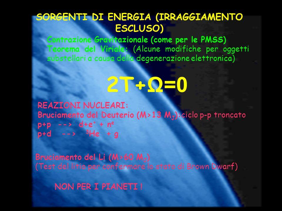 SORGENTI DI ENERGIA (IRRAGGIAMENTO ESCLUSO) Contrazione Gravitazionale (come per le PMSS) Teorema del Viriale: (Alcune modifiche per oggetti substella