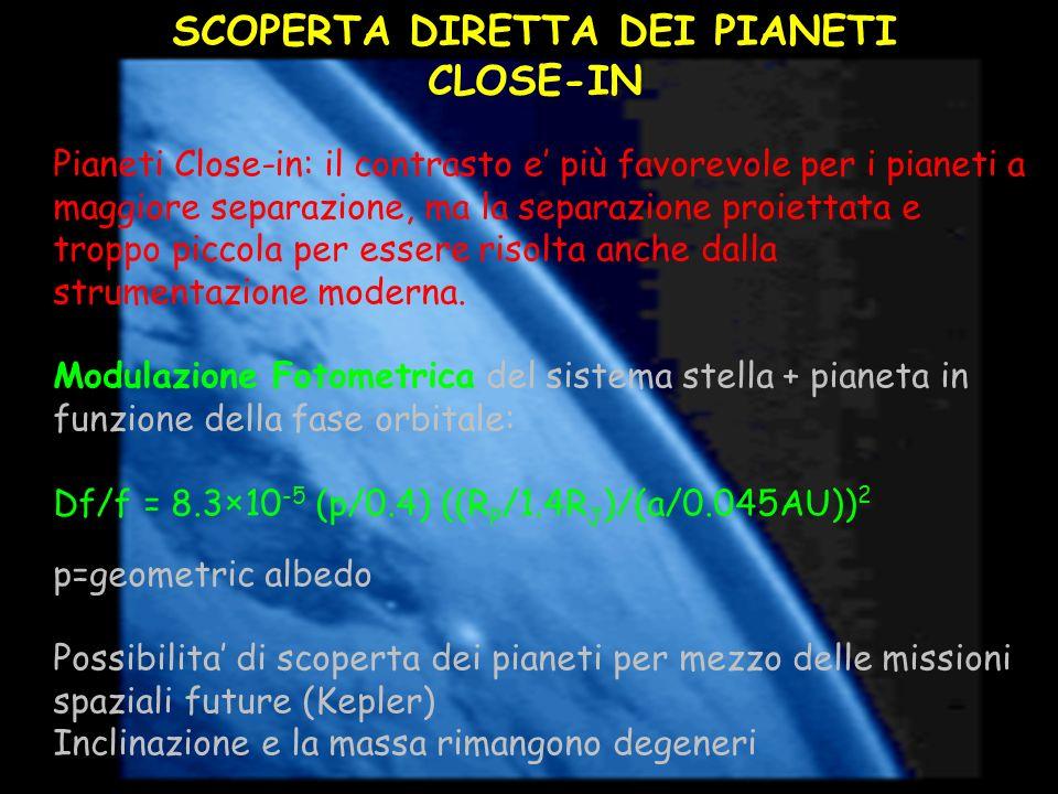 SCOPERTA DIRETTA DEI PIANETI CLOSE-IN Pianeti Close-in: il contrasto e più favorevole per i pianeti a maggiore separazione, ma la separazione proietta