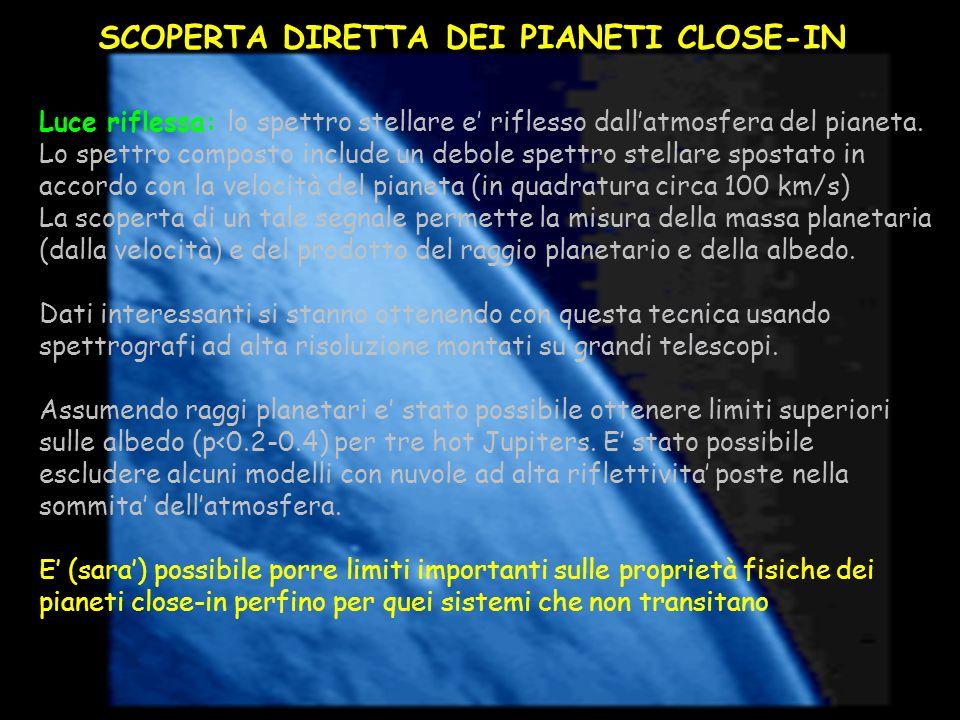 Luce riflessa: lo spettro stellare e riflesso dallatmosfera del pianeta. Lo spettro composto include un debole spettro stellare spostato in accordo co