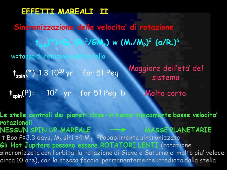 Le stelle centrali dei pianeti close-in hanno tipicamente basse velocita rotazionali NESSUN SPIN UP MAREALE MASSE PLANETARIE t Boo P=3.3 days, M P sin