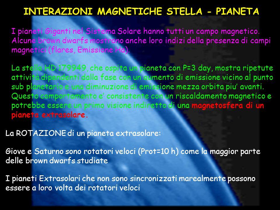 INTERAZIONI MAGNETICHE STELLA - PIANETA I pianeti Giganti nel Sistema Solare hanno tutti un campo magnetico. Alcune brown dwarfs mostrano anche loro i