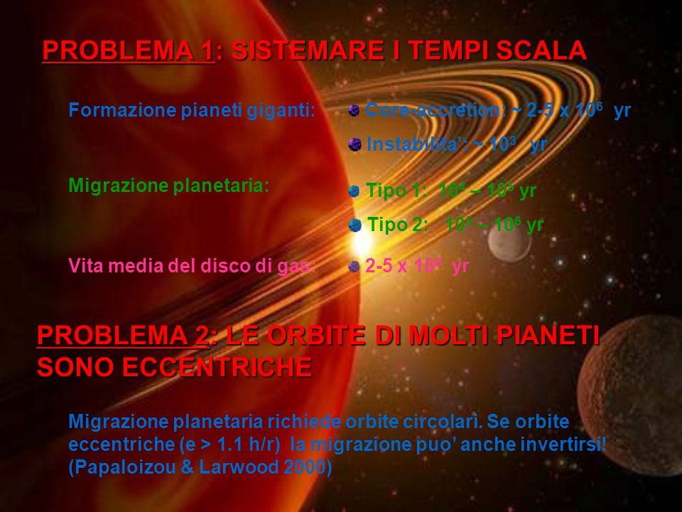 PROBLEMA 1: SISTEMARE I TEMPI SCALA Formazione pianeti giganti: Core-accretion: ~ 2-5 x 10 6 yr Instabilita: ~ 10 3 yr Migrazione planetaria: Tipo 1: