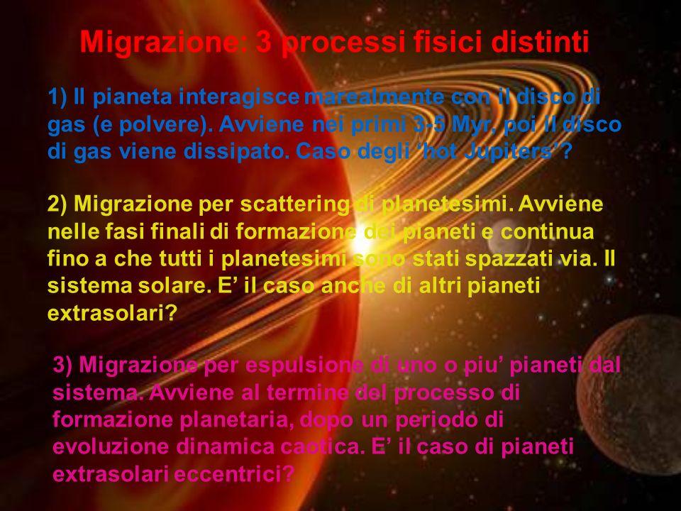 Migrazione: 3 processi fisici distinti 1) Il pianeta interagisce marealmente con il disco di gas (e polvere). Avviene nei primi 3-5 Myr, poi il disco