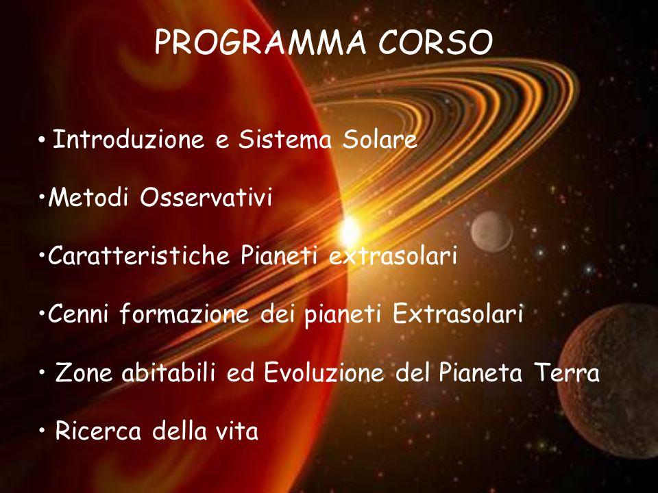 2 Introduzione e Sistema Solare Metodi Osservativi Caratteristiche Pianeti extrasolari Cenni formazione dei pianeti Extrasolari Zone abitabili ed Evol