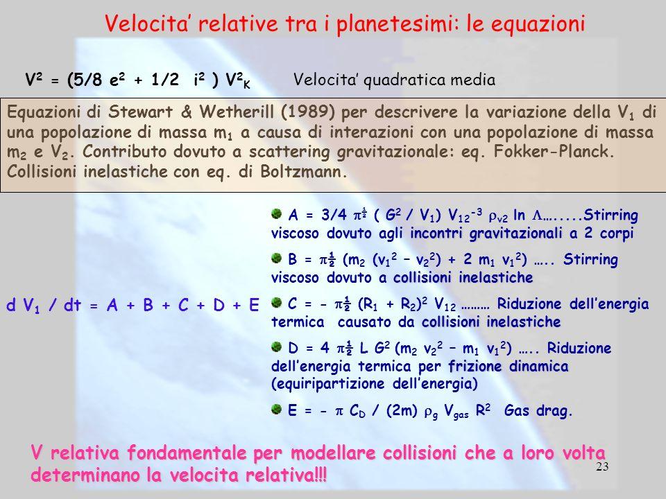 23 Equazioni di Stewart & Wetherill (1989) per descrivere la variazione della V 1 di una popolazione di massa m 1 a causa di interazioni con una popol