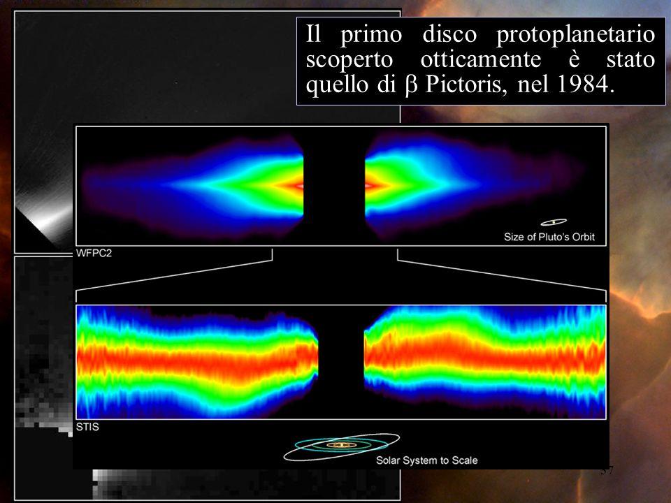 37 Il primo disco protoplanetario scoperto otticamente è stato quello di Pictoris, nel 1984.