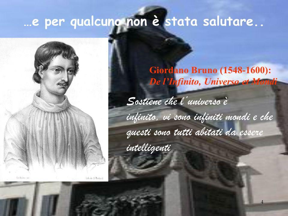4 Giordano Bruno (1548-1600): De lInfinito, Universo et Mondi Sostiene che luniverso è infinito, vi sono infiniti mondi e che questi sono tutti abitat