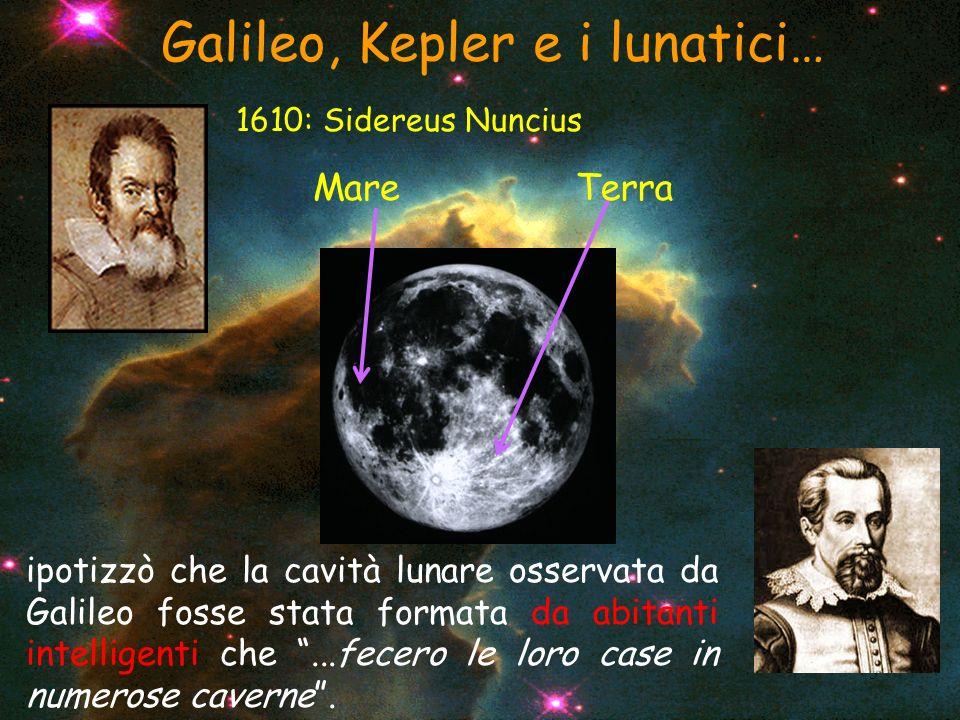 5 Galileo, Kepler e i lunatici… 1610: Sidereus Nuncius MareTerra ipotizzò che la cavità lunare osservata da Galileo fosse stata formata da abitanti in