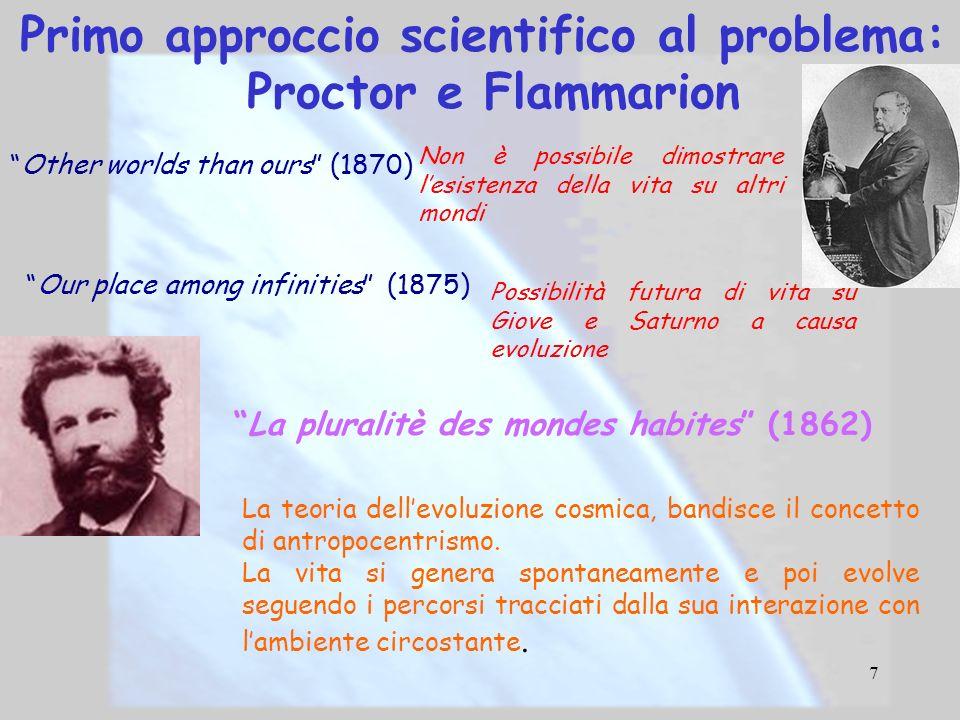 7 Primo approccio scientifico al problema: Proctor e Flammarion Other worlds than ours (1870) Non è possibile dimostrare lesistenza della vita su altr