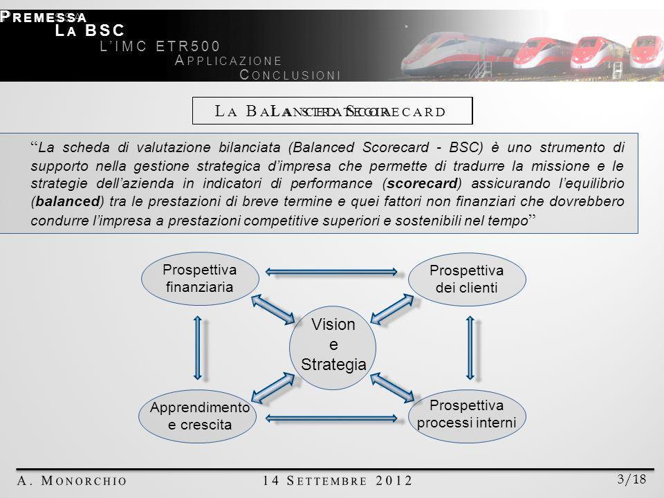 La scheda di valutazione bilanciata (Balanced Scorecard - BSC) è uno strumento di supporto nella gestione strategica dimpresa che permette di tradurre la missione e le strategie dellazienda in indicatori di performance (scorecard) assicurando lequilibrio (balanced) tra le prestazioni di breve termine e quei fattori non finanziari che dovrebbero condurre limpresa a prestazioni competitive superiori e sostenibili nel tempo Vision e Strategia Apprendimento e crescita Prospettiva finanziaria Prospettiva processi interni Prospettiva dei clienti 3/18 P REMESSA L A BSC LIMC ETR500 A PPLICAZIONE C ONCLUSIONI P REMESSA L A B ALANCED S CORECARD L A STRATEGIA
